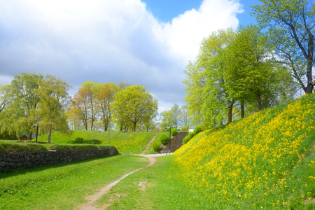 Spring landscape in park in the fortress of Lappeenranta,, Finland. Stock Photo