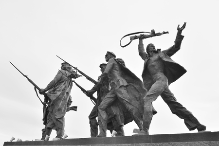 siege: ST.PETERSBURG, RUSSIA - 15 JUNE 2016: Fragment of Monument to the Heroic Defenders of Leningrad - a monument to the heroism of citizens in the tragic days of the siege of 1941-1944.. Black and white.