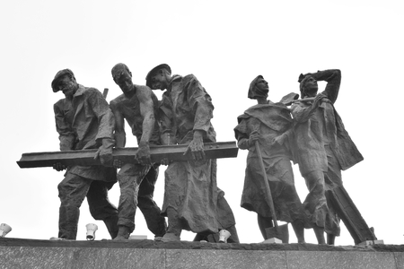 heroic: ST.PETERSBURG, RUSSIA - 15 JUNE 2016: Fragment of Monument to the Heroic Defenders of Leningrad - a monument to the heroism of citizens in the tragic days of the siege of 1941-1944.. Black and white.