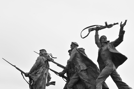 heroism: ST.PETERSBURG, RUSSIA - 15 JUNE 2016: Fragment of Monument to the Heroic Defenders of Leningrad - a monument to the heroism of citizens in the tragic days of the siege of 1941-1944.. Black and white.