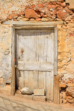 mediterranea: Door of old building in Hersonissos on Crete, Greece.