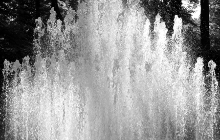 gush: The gush of water of a fountain. Black and white.