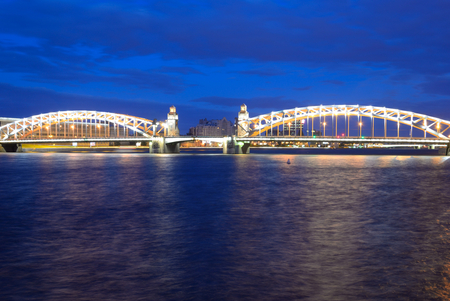 peter the great: Peter the Great Bridge at night in St.Petersburg, Russia.