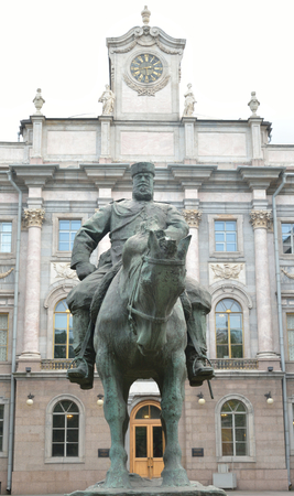 marble palace: Marble Palace and the statue of Emperor Alexander III in Petersburg, Russia.