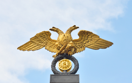 doubleheaded: Double-headed eagle - the emblem of the Russian Empire on the gate of the State Russian Museum in St.Petersburg, Russia.