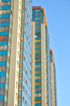 jule: ST.PETERSBURG, RUSSIA - 2 JULE 2016: Skyscrapers housing complex Rechnoy in microdistrict Ribatskoe on the outskirts of St. Petersburg, Russia.
