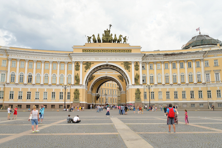 lasted: ST.PETERSBURG, RUSSIA - 3 JULE 2016: The General Staff building - a historic building, is located on the Palace Square in St. Petersburg. Construction of the building lasted from 1819 to 1829.