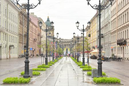 historica: ST.PETERSBURG, RUSSIA - 3 JULE 2016: Malaya Konyushennaya Street- a street in the Central district of St. Petersburg. It passes from the Swedish lane to Nevsky Prospekt. Editorial