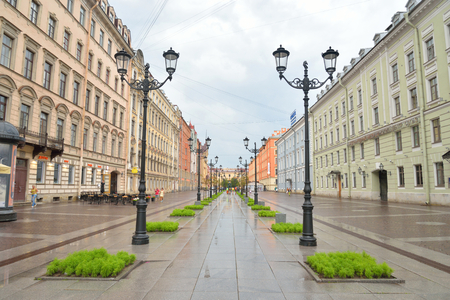 malaya: ST.PETERSBURG, RUSSIA - 3 JULE 2016: Malaya Konyushennaya Street- a street in the Central district of St. Petersburg. It passes from the Swedish lane to Nevsky Prospekt. Editorial