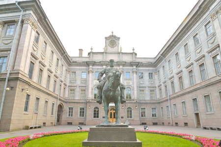 marble palace: ST.PETERSBURG, RUSSIA - 3 JULE 2016: Marble Palace and the statue of Emperor Alexander III in Petersburg, Russia.