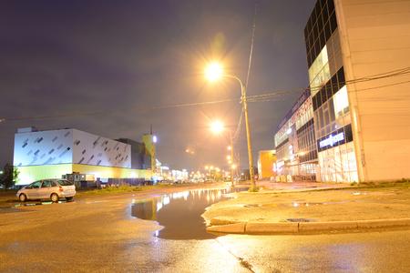 jule: ST.PETERSBURG, RUSSIA - 13 JULE 2016: Teplovoznay Street in Microdistrict Ribatskoe at night on the outskirts of St. Petersburg, Russia. Editorial