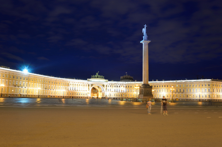 The General Staff building and Alexander column - a historic building, is located on the Palace Square in St. Petersburg, Russia. Editorial