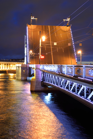 neva: Palace Bridge and Neva River at night in St.Petersburg, Russia.