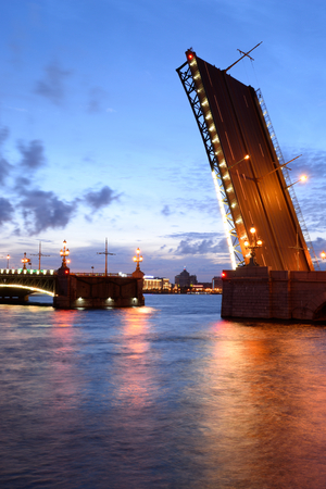 Trinity bridge and Neva River at night in St.Petersburg, Russia. Stock Photo