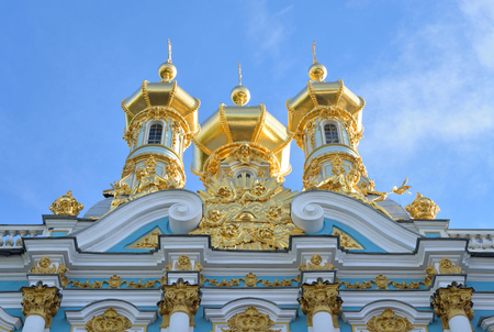 cupolas: Golden cupolas of Catherine Palace church on the sky background, suburb of St.Petersburg, Russia. Editorial