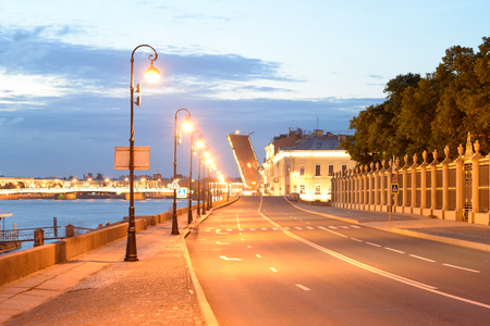 Palace Embankment of Neva River in St.Petersburg at night, Russia. Stock Photo
