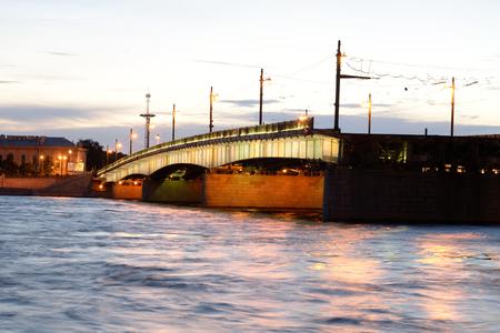 Foundry Bridge and Neva River in St.Petersburg before sunrise., Russia. Stock Photo