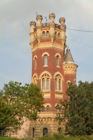 antique factory: Water Tower in the Gothic style in St.Petersburg, Russia.