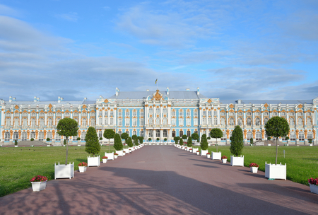 Catherine Palace in Tsarskoe Selo by sunny day, suburb of St.Petersburg, Russia. Construction 1752-1756 years.