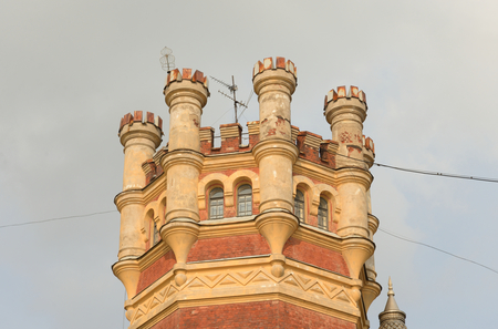 gothic style: Water Tower in the Gothic style in St.Petersburg, Russia.