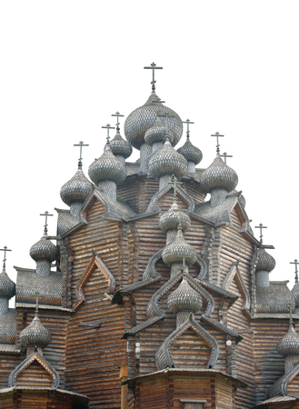 Wooden Church of the Intercession in the style of Russian wooden architecture in the Nevsky Forest Park near St. Petersburg, Russia.