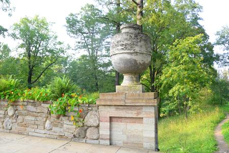petergof: Fragment of Ruin Bridge with vase in Alexandra Park in Petergof near St.Petersburg, Russia.