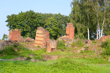 petergof: Ruin of Lower Dacha in Alexandria Park in Petergof near St.Petersburg, Russia. Stock Photo