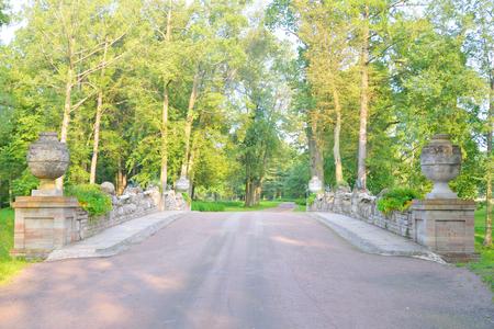 petergof: Ruin Bridge with vases in Alexandra Park in Petergof near St.Petersburg, Russia.