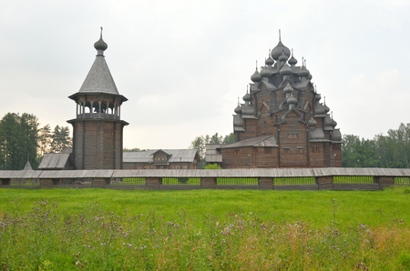 The complex Manor Bogoslovka in the style of Russian wooden architecture in the Nevsky Forest Park near St. Petersburg, Russia. Stock Photo