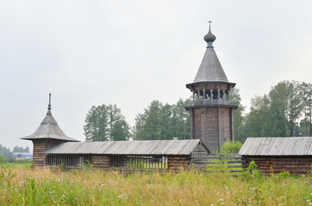 nevsky: The complex Manor Bogoslovka in the style of Russian wooden architecture in the Nevsky Forest Park near St. Petersburg, Russia. Stock Photo