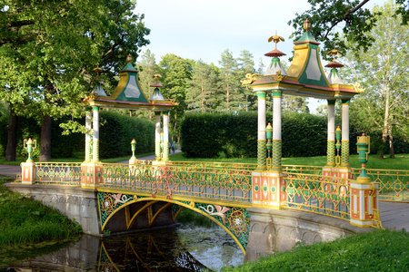 city pushkin: Chinese bridge in Alexander Park in Tsarskoe Selo, suburb of St.Petersburg, Russia. Stock Photo