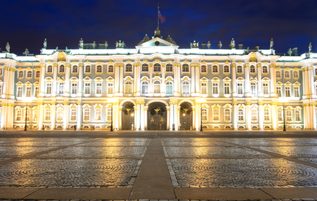 View of Hermitage Museum at night, St.Petersburg. One of the largest and most significant art and historical museums in Russia and abroad. Editorial