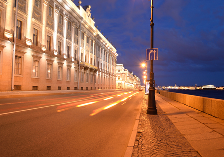 Marble Palace and embankment of Neva River in St. Petersburg, Russia. Stock Photo