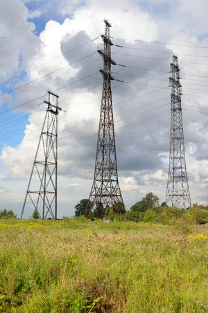 Power line in the countryside on the outskirts of St. Petersburg, Russia.