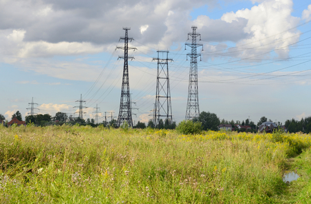 outskirts: Power line in the countryside on the outskirts of St. Petersburg, Russia.