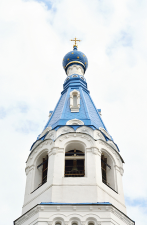 Bell tower of Pokrovsky Cathedral in Gatchina, Russia. Stock Photo