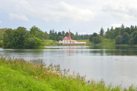 priory: Priory park with lake and Prioratsky Palace in Gatchina, Russia.