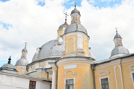 former years: Resurrection Cathedral in Vologda Kremlin, Russia. Resurrection Cathedral - the former Cathedral in Vologda, built in the years 1772-1776 at the behest of Archbishop Joseph Vologda Golden Baroque. Stock Photo
