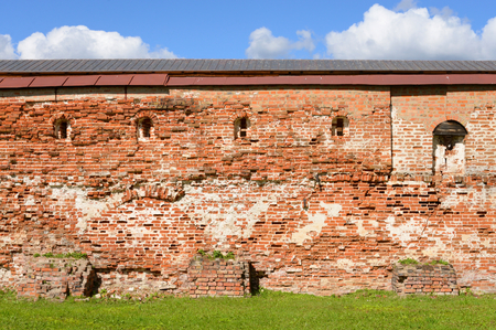 decrepitude: Fortress wall of Kirillo-Belozersky monastery by day near City Kirillov, Vologda region, Russia.