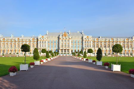 Catherine Palace in Tsarskoe Selo by sunny day, suburb of St.Petersburg, Russia.