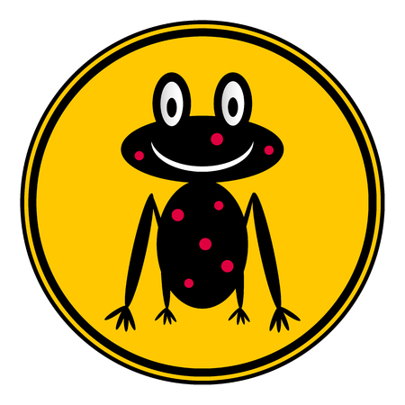 croaking: Frog icon on button on white background. Vector illustration.