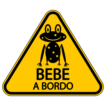 Baby on board sign in Spanish on white background. Vector illustration. Illustration