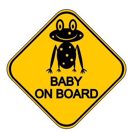 bebe a bordo: Bebé en el tablero de la muestra en el fondo blanco. Ilustración del vector.