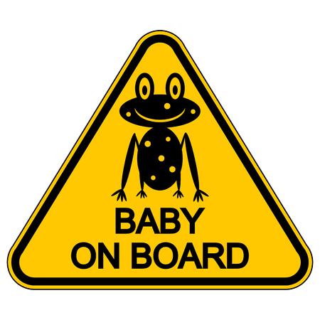 bebe a bordo: Beb� en el tablero de la muestra en el fondo blanco. Ilustraci�n del vector.