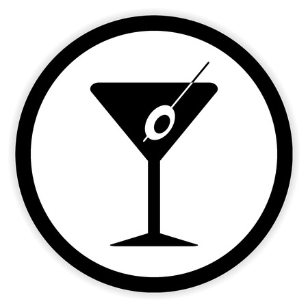 sweet vermouth: Martini glass button on white background. Vector illustration.