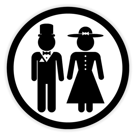 gents: Male and female restroom symbol button in retro style. Vector illustration.