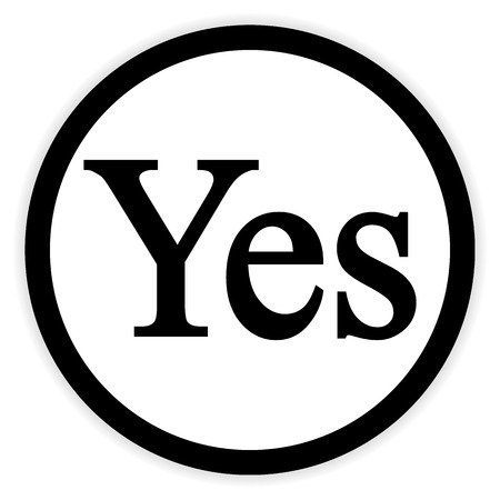 affirmative: Yes button on white background. Vector illustration.