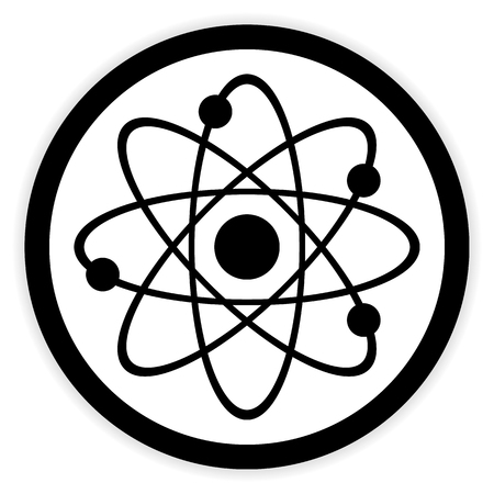 fission: Atom button on white background. Vector illustration.