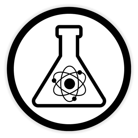 Laboratory glass button on white background. Vector illustration.