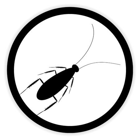 unhygienic: Cockroach button on white background. Vector illustration.